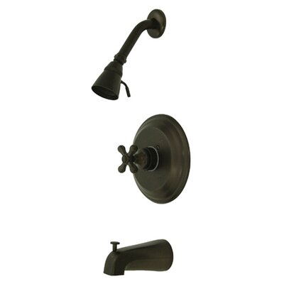 Vintage Single Handle Wall Mount Pressure Balanced Tub Spout Trim Metal Cross Handle Finish: Oil Rubbed Bronze