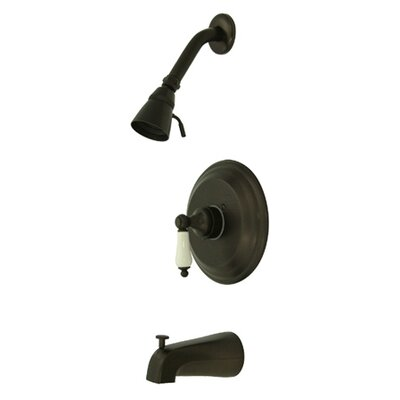 Vintage Thermostatic Pressure Balanced Tub and Shower Faucet Trim with Porcelain Lever Handles Finish: Oil Rubbed Bronze