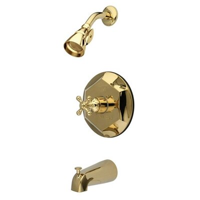 Volume Control Tub and Shower Faucet with Buckingham Cross Handles Finish: Polished Brass