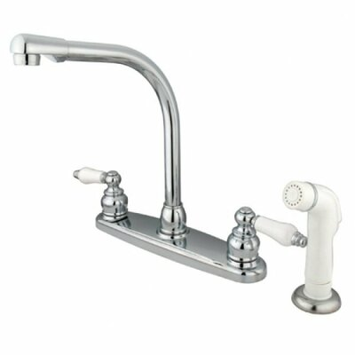 Victorian Double Handle Centerset High Arch Kitchen Faucet with Porcelain Lever Handles and Plastic Side Spray Finish: Polished Chrome