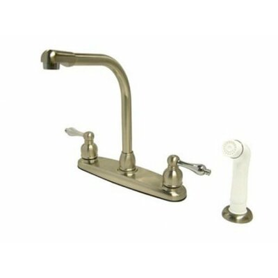 Victorian Double Handle Centerset High Arch Kitchen Faucet with Metal Lever Handles and White Side Spray Finish: Satin Nickel/Polished Chrome
