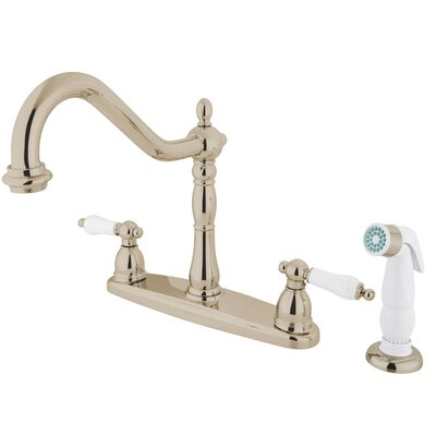 Heritage Double Handle Centerset Kitchen Faucet with Porcelain Lever Handles Finish: Polished Nickel