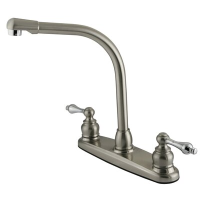 Victorian Double Handle Centerset High Arch Kitchen Faucet with Metal Lever Handles Finish: Satin Nickel/Polished Chrome