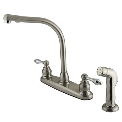 Victorian Double Handle Centerset High Arch Kitchen Faucet with Metal Lever Handles and Plastic Side Spray Finish: Satin Nickel/Polished Chrome