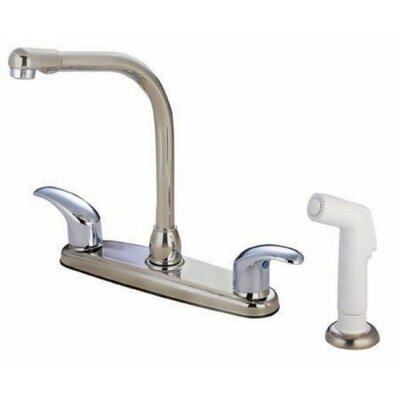 Victorian Double Handle Centerset High Arch Kitchen Faucet with Legacy Lever Handles Finish: Satin Nickel/Polished Chrome