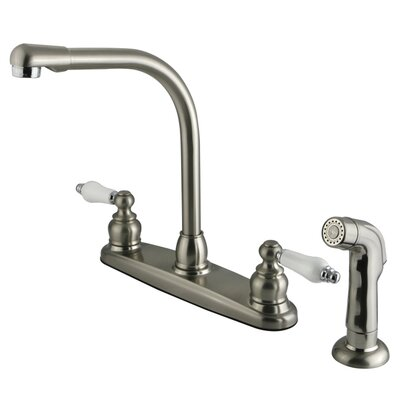 Victorian Double Handle Centerset High Arch Kitchen Faucet with Porcelain Lever Handles and Side Spray Finish: Satin Nickel/Polished Chrome