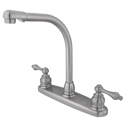 Victorian Double Handle Centerset High Arch Kitchen Faucet with Metal Lever Handles Finish: Satin Nickel