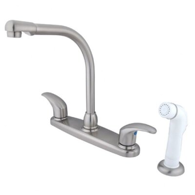 Victorian Double Handle Centerset High Arch Kitchen Faucet with Legacy Lever Handles Finish: Satin Nickel