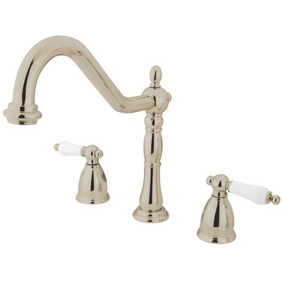 Heritage Double Handle Widespread Kitchen Faucet with Porcelain Lever Handles Finish: Polished Nickel