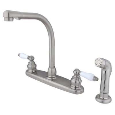 Victorian Double Handle Centerset High Arch Kitchen Faucet with Porcelain Lever Handles and Side Spray Finish: Satin Nickel