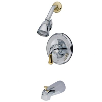 Single Lever Handle Volume Control Tub Shower Faucet Finish: Chrome/Polished Brass