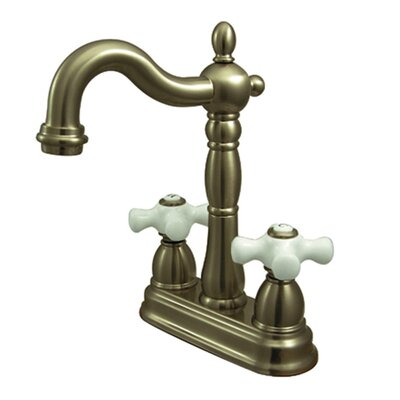 Heritage Double Handle Centerset Bar Faucet with Porcelain Cross Handles Finish: Vintage Brass