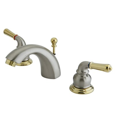 St. Charles Mini-Widespread Double Handle Bathroom Faucet with Drain Assembly Finish: Satin Nickel/Polished brass