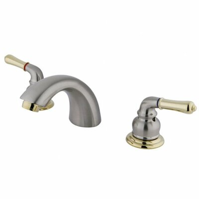Mini-Widespread Double Handle Bathroom Faucet with Drain Assembly Finish: Satin Nickel/Polished Brass, Optional Accessories: Without Pop Up Drain