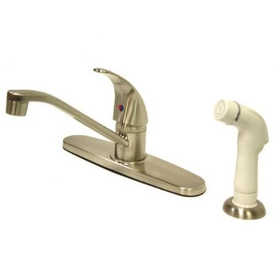 Single Handle Centerset Kitchen Faucet with Legacy Lever Handles Finish: Satin Nickel, Side Spray: With Side Spray