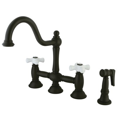Double Handle Widespread Bridge Faucet with Porcelain Cross Handles Finish: Oil Rubbed Bronze