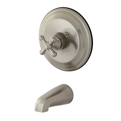 Vintage Thermostatic Pressure Balanced Tub and Shower Faucet Trim with Cross Handles Finish: Satin Nickel