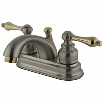 Centerset Bathroom Faucet with Double Lever Handles Finish: Satin Nickel/Polished Brass