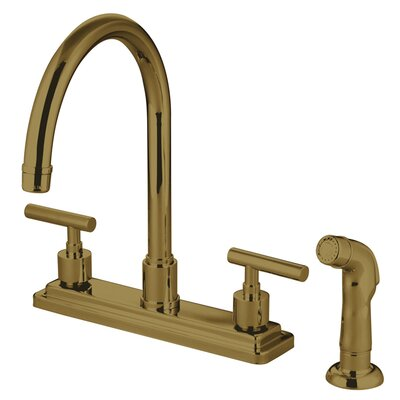 Sydney Double Handle Kitchen Faucet with Side Spray Finish: Polished Brass