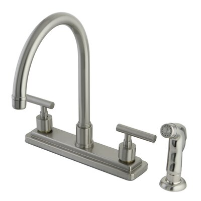 Sydney Double Handle Centerset Kitchen Faucet with Non-Metallic Sprayer Finish: Satin Nickel