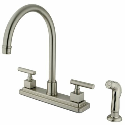 Rio Double Handle Kitchen Faucet with Side Spray Finish: Satin Nickel