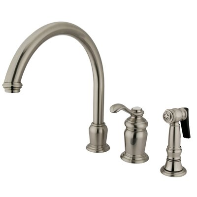 Madison Deck Mount Single Handle Widespread Kitchen Faucet with Templeton Lever Handle and Side Spray Finish: Satin Nickel