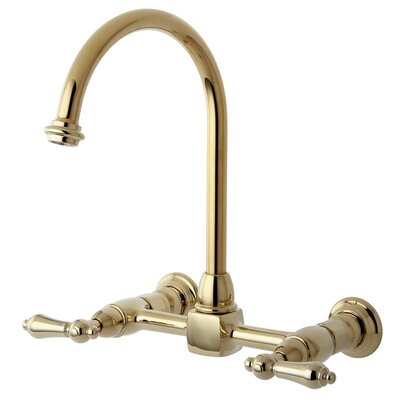 Heritage Double Handle Wall Mount Bridge Kitchen Faucet with Metal Lever Handles Finish: Polished Brass