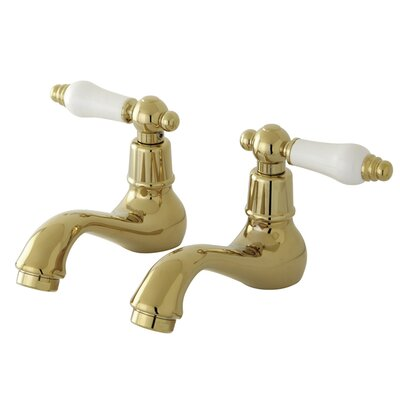 Vintage Widespread Bathroom Sink Faucet Set with Porcelain Lever Handles Finish: Polished Brass
