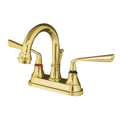 Copenhagen Double Handle Centerset Bathroom Faucet with Brass Pop-Up Finish: Polished Brass