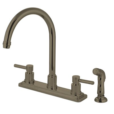 South Beach Double Handle Kitchen Faucet with Side Spray Finish: Satin Nickel