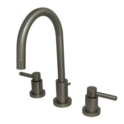 Concord Double Handle Mini Widespread Bathroom Faucet with Brass Pop-Up Finish: Satin Nickel