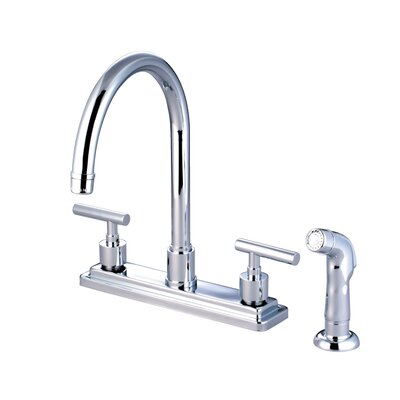Sydney Double Handle Centerset Kitchen Faucet with Non-Metallic Sprayer Finish: Polished Chrome
