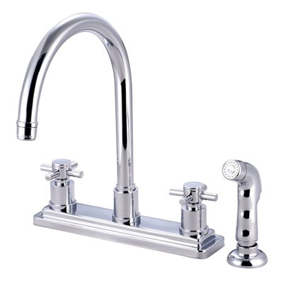 South Beach Double Cross Handle Kitchen Faucet with Non-Metallic Sprayer Finish: Polished Chrome