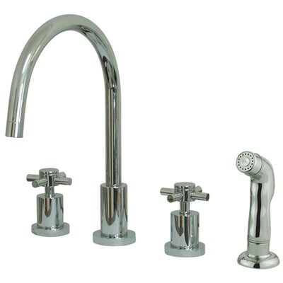 South Beach Double Cross Handle Widespread Kitchen Faucet with Non-Metallic Sprayer Finish: Polished Chrome