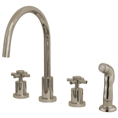 South Beach Double Cross Handle Widespread Kitchen Faucet with Non-Metallic Sprayer Finish: Polished Nickel