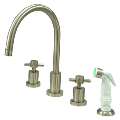 South Beach Double Cross Handle Widespread Kitchen Faucet with Non-Metallic Sprayer Finish: Satin Nickel