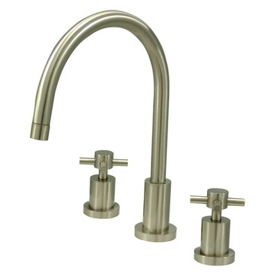 South Beach Double Cross Handle Widespread Kitchen Faucet Finish: Satin Nickel