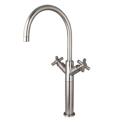 South Beach Double Cross Handle Vessel Sink Faucet without Pop-Up Finish: Satin Nickel