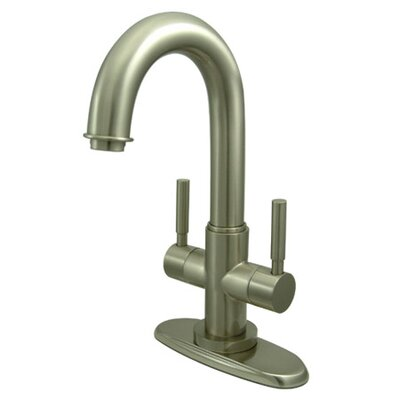 South Beach Double Handle Bathroom Faucet with Push-Up Pop-Up and Plate Finish: Satin Nickel