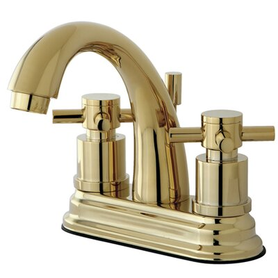 South Beach Double Cross Handle Centerset Bathroom Faucet with Brass Pop-Up Finish: Polished Brass