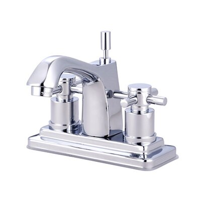 South Beach Double Cross Handle Centerset Bathroom Faucet with Brass Pop-Up Finish: Polished Chrome