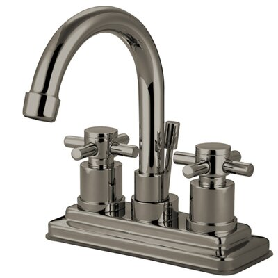 South Beach Double Cross Handle Centerset Bathroom Faucet with Brass Pop-Up Finish: Satin Nickel