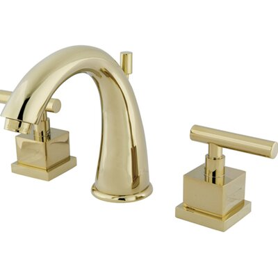 Rio Double Handle Widespread Bathroom Faucet with Pop-up Finish: Polished Brass