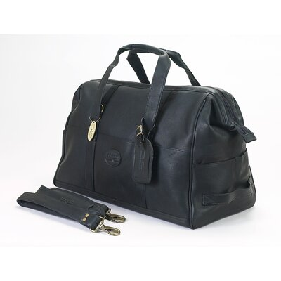 """Luggage Vintage 15"""" Leather Carry-on Duffel Color: Black"""