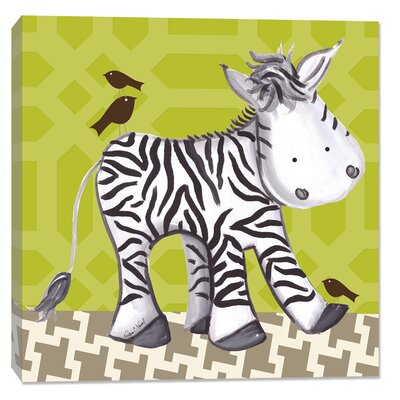 Jungle Zach Zebra Canvas Art Background Color: Green DBP610