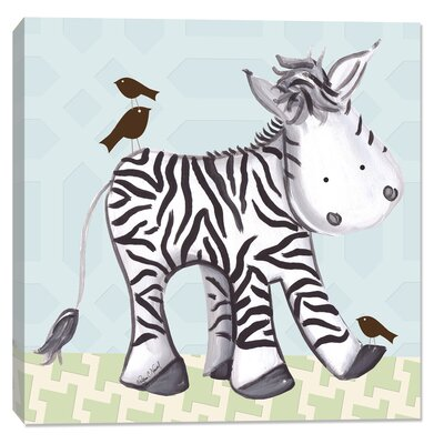 Jungle Zach Zebra Canvas Art Background Color: Blue DBP612