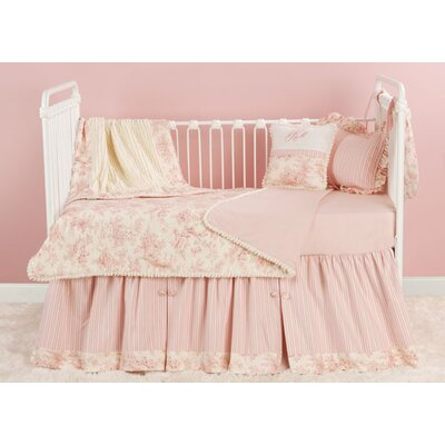 Toile Pink Toddler Coverlet and Pillow