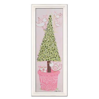 Bird Topiary Giclee Framed Art Color: Pink