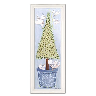 Bird Topiary Giclee Framed Art Color: Blue image