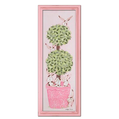 Bunny Topiary Giclee Framed Art Color: Pink image